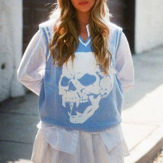 BrickBlack - Skull Print Knit Vest