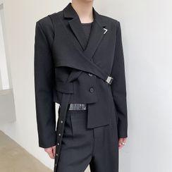 VEAZ - Cross-Strap Asymmetrical Cropped Blazer