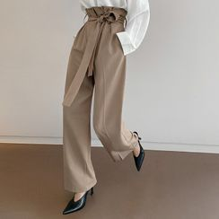 DABAGIRL - Paperbag-Waist Wide Dress Pants