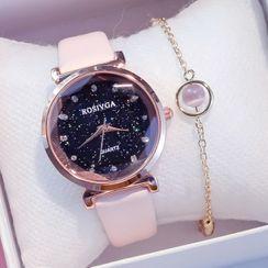 Moska - 套裝: 仿皮手錶 + 手鏈
