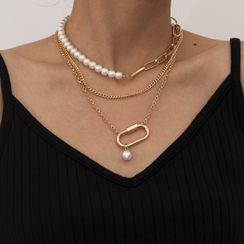 Seirios - Set of 3: Faux Pearl Layered Chain Necklace