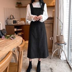 Leoom - 喇叭袖衬衫 / 灯芯绒A字背带连衣中裙