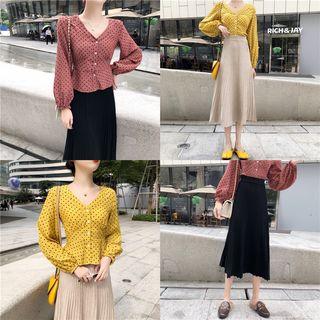 Tanee - Dot V-Neck Long-Sleeve Slim-Fit Blouse / Pleated Skirt