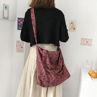 Ms Bean - Floral Print Corduroy Crossbody Bag