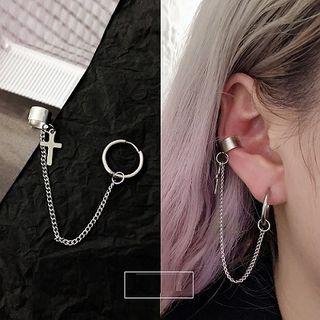 PANGU - Stainless Steel Cross Chained Earring