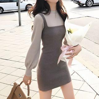 Shinobu - Mock Two Piece Long-Sleeve Knit Dress