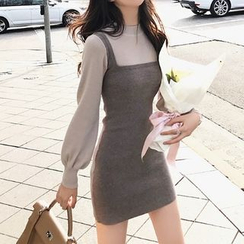 Shinobu - Mock Two Piece Long-Sleeve Knit Dress