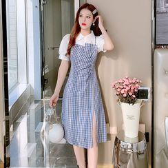 Petit Lace - Short-Sleeve Check Panel Sheath Dress