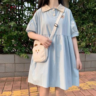 Sisyphi - Puff-Sleeve Embroidered Polo Dress
