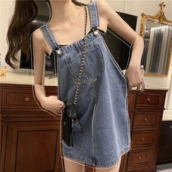 Pobblebonk - Denim Mini Overall Dress