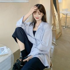 CosmoCorner - Long-Sleeve Striped Loose-Fit Shirt / Sleeveless Plain Jumpsuit