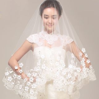 Destine - Flower Applique Lace Wedding Veil