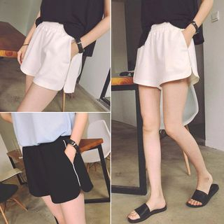 Lumierii - Elastic-Waist Wide-Leg Shorts