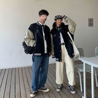 DuckleBeam - Couple Matching Lettering Baseball Jacket