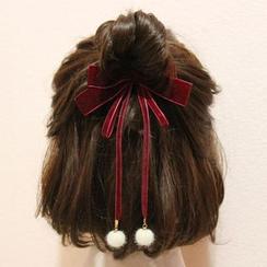 Cheveux - 蝴蝶結絲絨&毛球髮夾