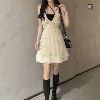 Attiga - Cropped Halter Top / Dotted Mini Overall Dress / Set