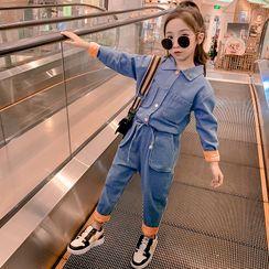 Qin Qin - 套装: 小童牛仔衬衫 + 直筒牛仔裤