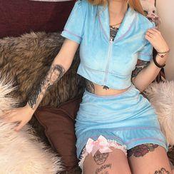 Bababy - Set: Short-Sleeve Velvet Shirt + Mini Mermaid Skirt