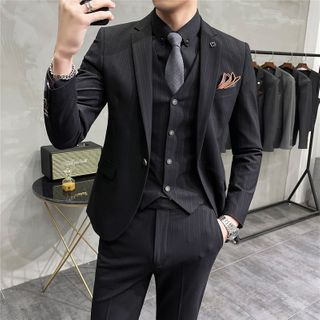 Bay Go Mall - Set: One-Button Single-Breasted Blazer + Vest + Dress Pants