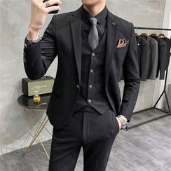 百高 - 套装: 单扣单排扣西装外套 + 马甲 + 西裤