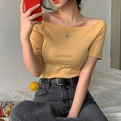 MERONGSHOP - Off-Shoulder Slim-Fit T-Shirt