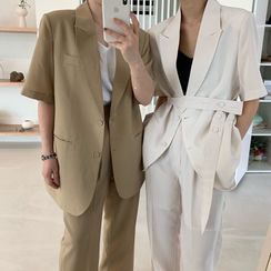 Coris - Short-Sleeve Blazer / Dress Pants
