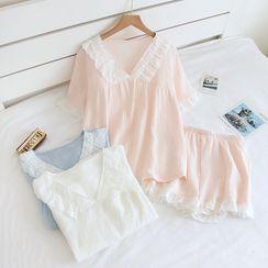 Dogini - Pajama Set: Short-Sleeve Ruffled Shirt + Shorts