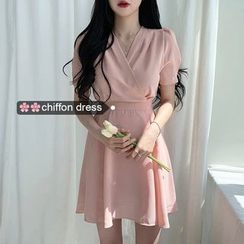 Coris - Short-Sleeve A-Line Mini Chiffon Dress