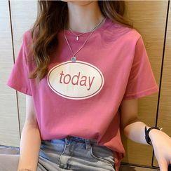 Ayibu - Short-Sleeve Lettering Print T-Shirt