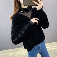 Ageha - 小高领网纱拼接毛衣