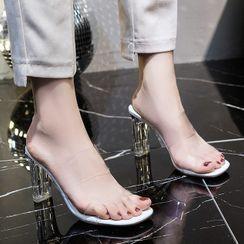 Weiya - Block-Heel Transparent Band Sandals