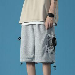 Kimeya - 佩斯利圖案印花直筒運動短褲