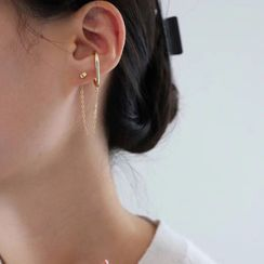 True Glam(トゥルーグラム) - Set of 3: Stud Earring+ Stud Earring With Ear Cuff