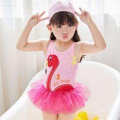 Aqua Wave - 小童鶴鳥印花泳裙