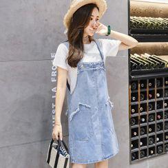 HUNNY - Maternity Short-Sleeve T-Shirt / Mini A-Line Denim Pinafore Dress / Set