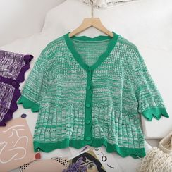 Pinatra - Contrast Scalloped Trim V-Neck Knit Cardigan