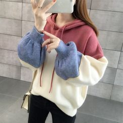 Ishanra - Color Block Knit Hoodie