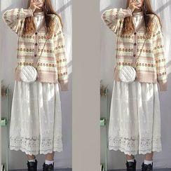 Beauteau - 长袖纯色T裇 / A字中长裙 / 花朵印花开衫 / 套装