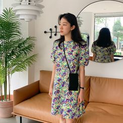 FROMBEGINNING - Puff-Sleeve Floral Shift Dress