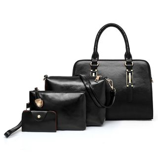 Selinda - Set of 4:  Faux Leather Tote Bag + Crossbody Bag + Pouch + Card Holder
