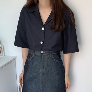 Leoom - Elbow-Sleeve Open-Collar Shirt