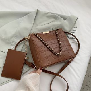 BAGUS - Set: Faux Leather Chain Crossbody Bag + Pouch