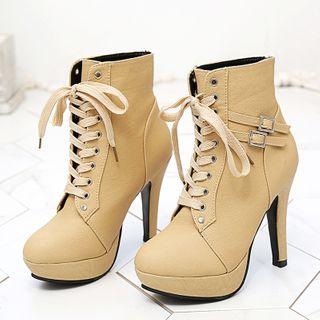 Aneka - Lace-Up Platform High-Heel Short Boots