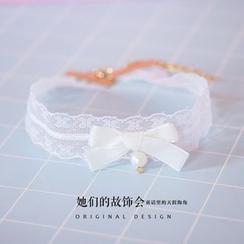AOI - 珍珠蕾丝锁骨链