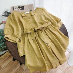 Miss Puff - 套裝: 泡泡袖方領襯衫 + 短褲
