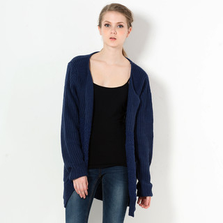 59 Seconds - Nubby Knit Panel Open-Front Cardigan