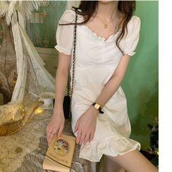 Sisyphi - Ruffled Short-Sleeve Mini A-Line Dress