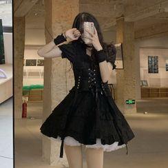 Baage - Short-Sleeve Lace Up Mini A-Line Dress / Mesh Mini A-Line Skirt