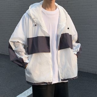 JUN.LEE - Color-Block Hooded Zip Light Jacket