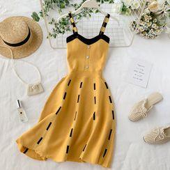 Lucuna - Wide Strap Patterned Midi A-Line Knit Dress
